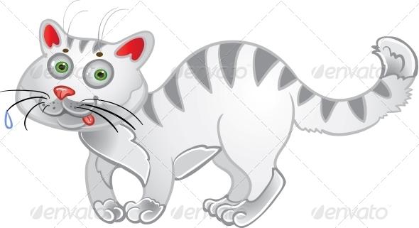 White Fun Cat - Animals Characters