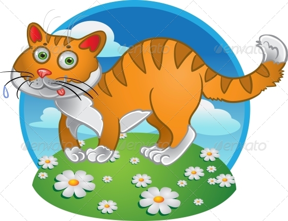 Orange Fun Cat on Color Background - Animals Characters