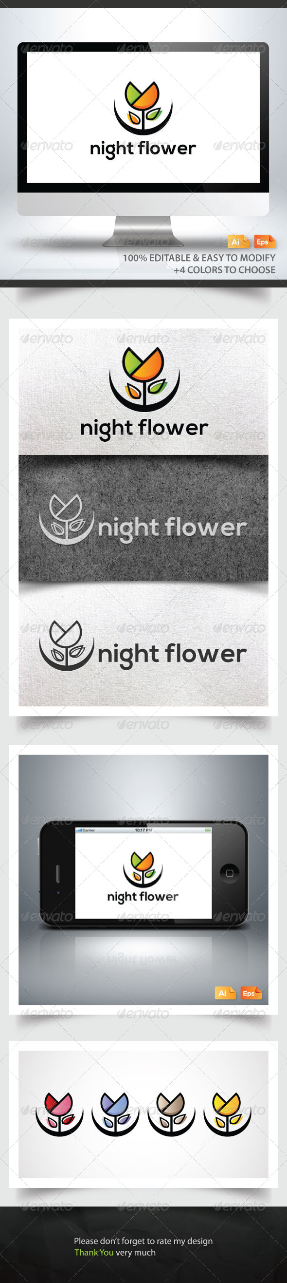 Night Flower - Nature Logo Templates