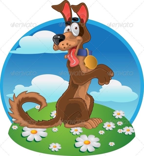Friendly Fun Dog on Color Background - Animals Characters