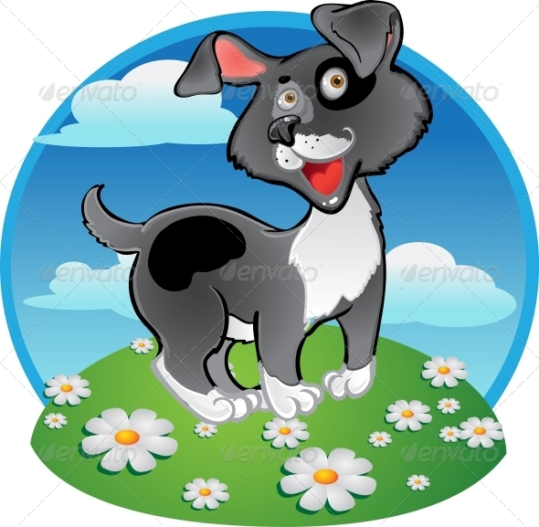 Fun Black Dog on Color Background - Animals Characters