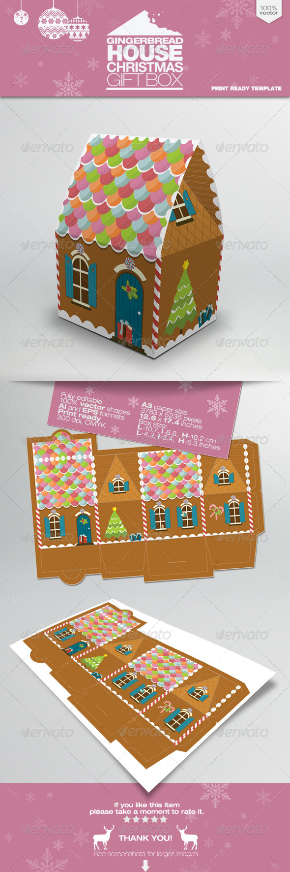 Gingerbread House Packaging Gift Box - Packaging Print Templates