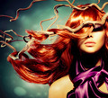 Fashion Model Woman Portrait with Long Curly Red Hair - PhotoDune Item for Sale