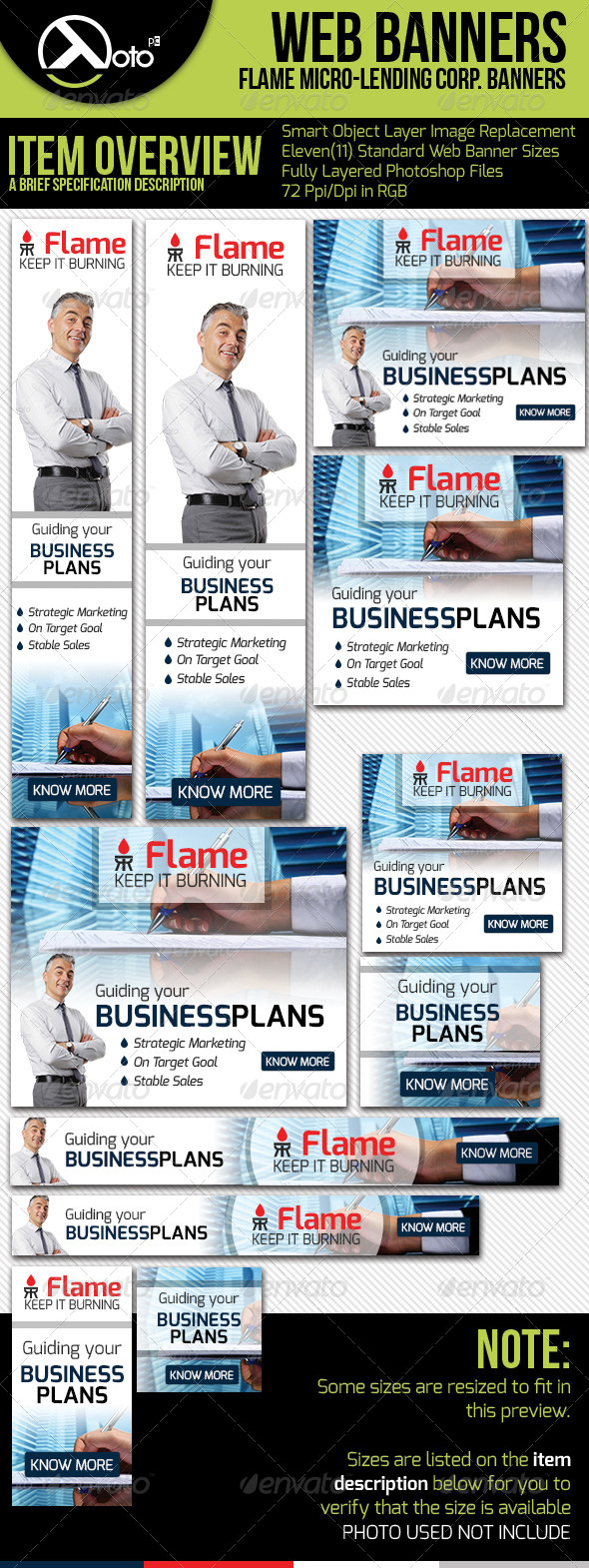 Flame Micro Lending Web Banners - Banners & Ads Web Elements