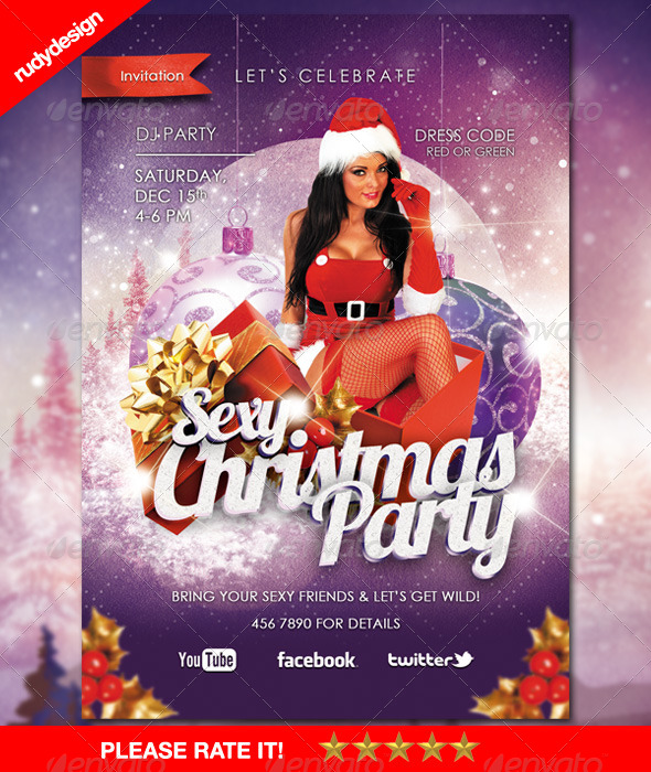 Sexy Christmas Party Flyer - Holidays Events
