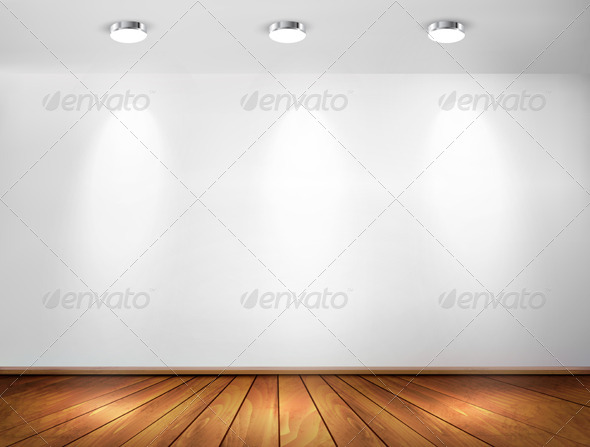 Wall with Spotlights and Wooden Floor - Backgrounds Decorative