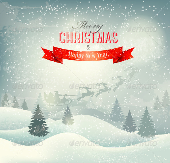 Christmas Winter Landscape Background - Backgrounds Decorative