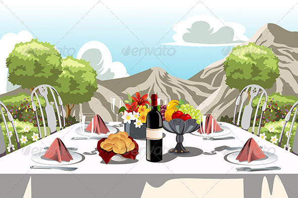 Garden Party Table Arrangement - Objects Vectors