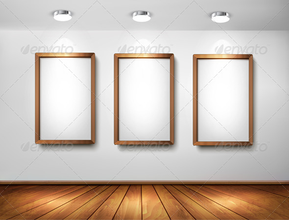 Empty Wooden Frames on Wall with Spotlights - Backgrounds Decorative