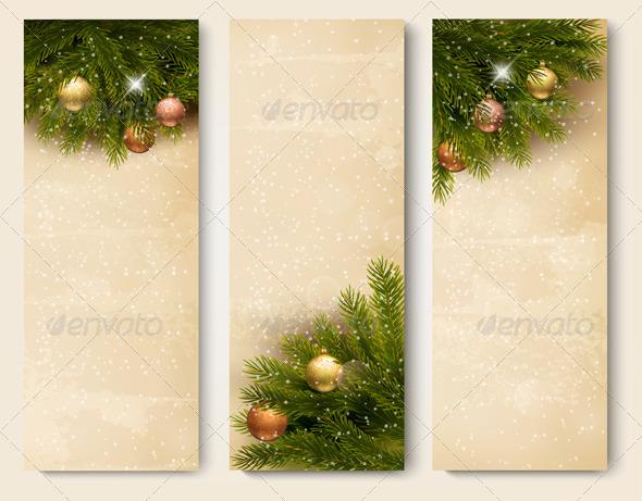 Three Retro Holiday Banners with Christmas Tree - Christmas Seasons/Holidays