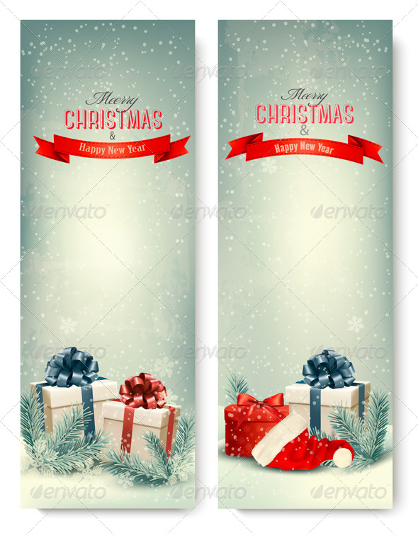 two retro holiday banners with gift boxes