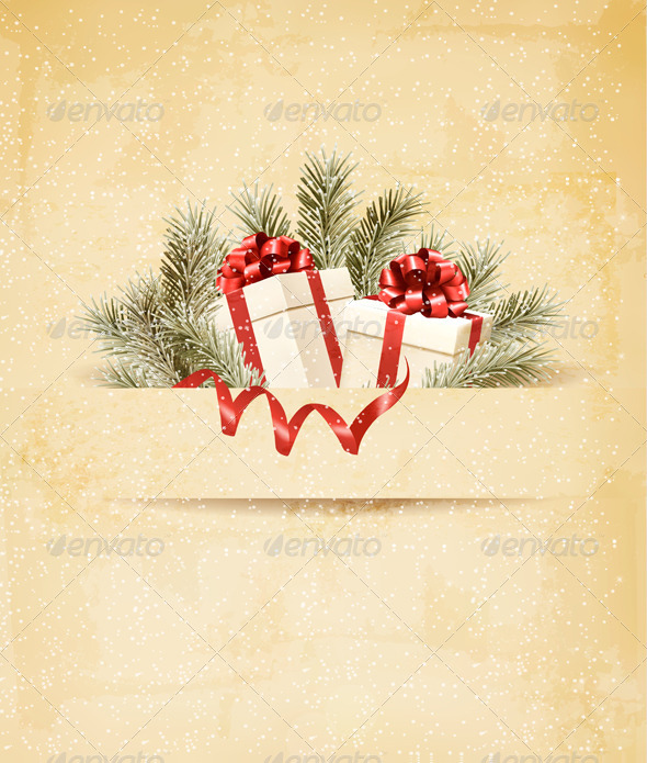 Holiday Background with Ribbon and Red Gift Boxes - Christmas Seasons/Holidays