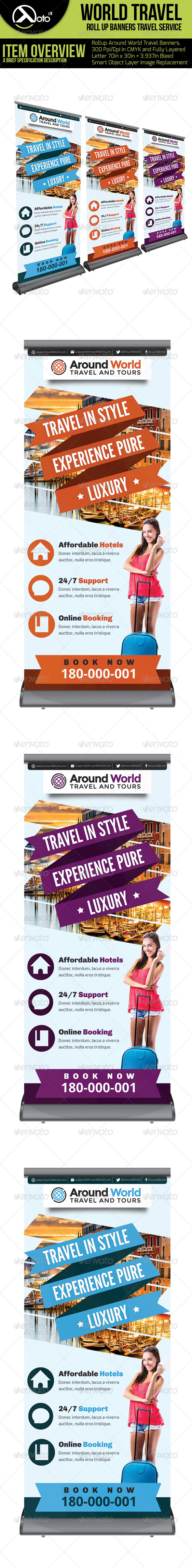 Around World Travel Roll up Banner - Signage Print Templates