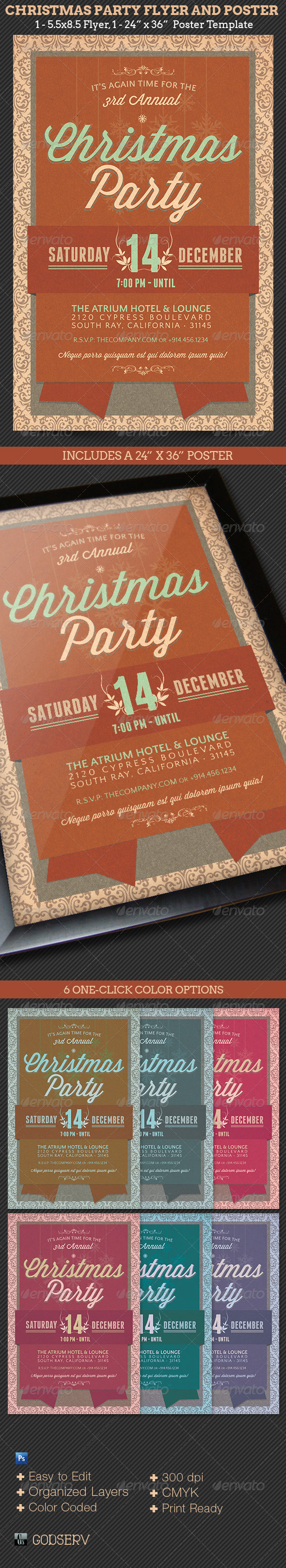 Christmas Party Flyer Poster Template - Holidays Events