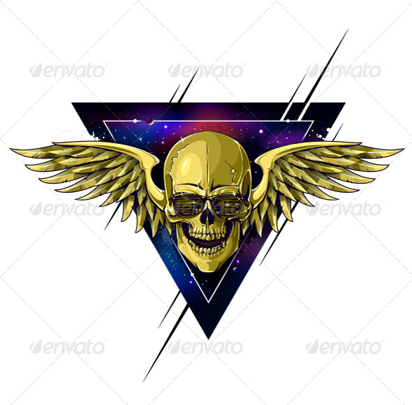 Hipster Skull with Wings - Vectors
