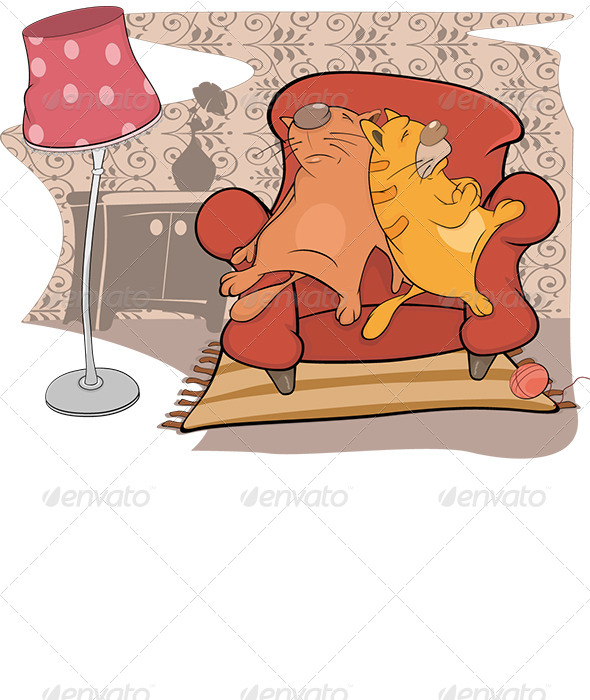Cats Friends Sleep on a Sofa Cartoon - Animals Characters