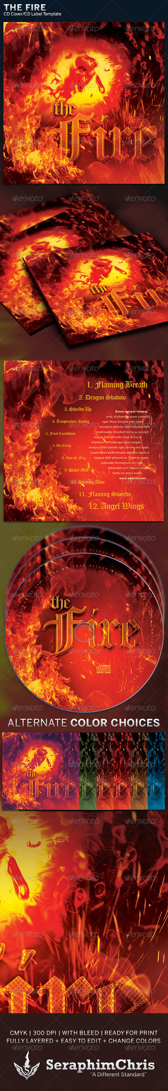 The Fire: CD Cover Artwork Template - CD & DVD Artwork Print Templates