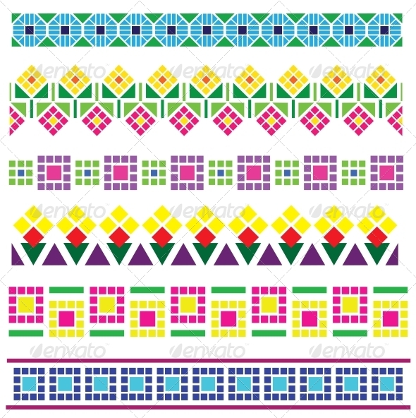 Borders with Geometrical Flowers - Borders Decorative