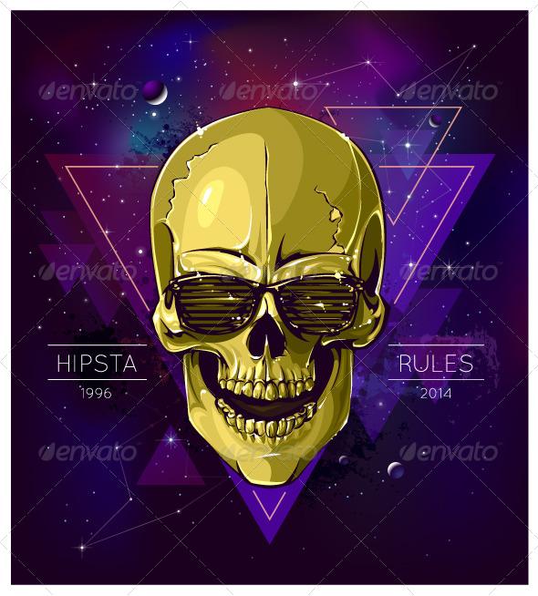 Hipster Skull - Vectors