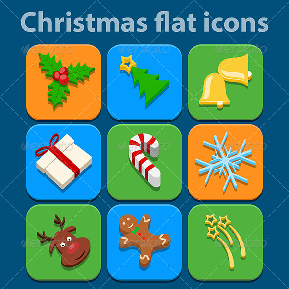 Flat Icons Set. Christmas and New Year - Christmas Seasons/Holidays