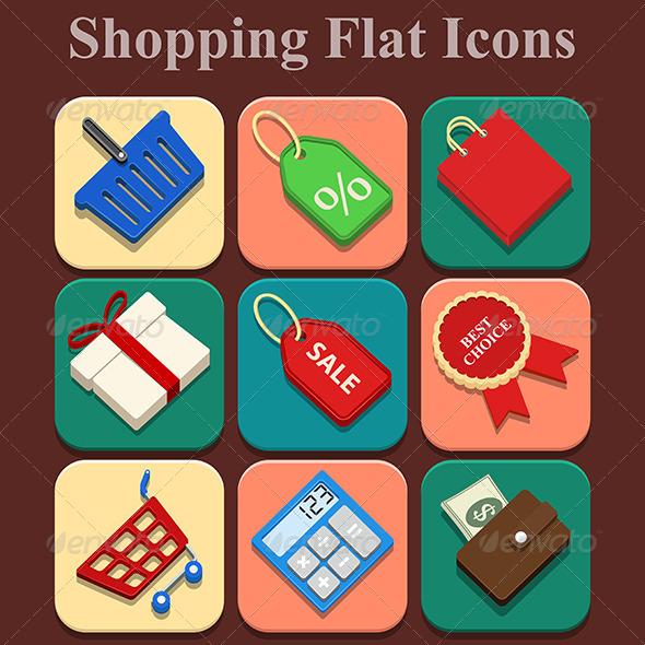 Shopping Flat Color Icons Set - Web Elements Vectors