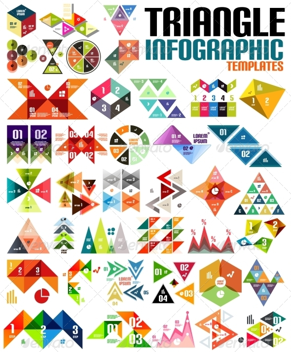 Huge Geometric Shape Infographic Template Set - Web Elements Vectors
