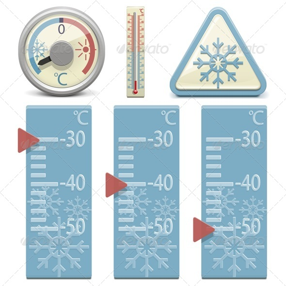 Vector Thermometer and Snow Sign - Retro Technology