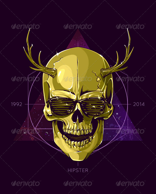 Hipster Skull with Horns - Vectors
