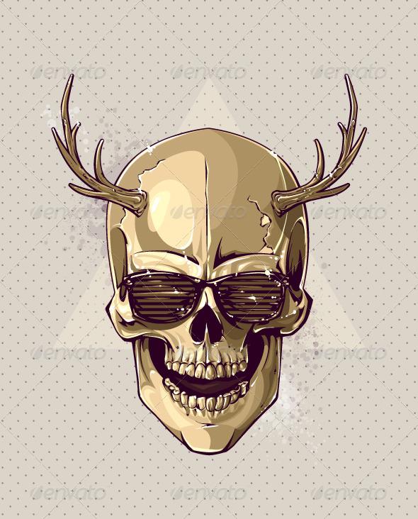 Hipster Gold Skull - Vectors