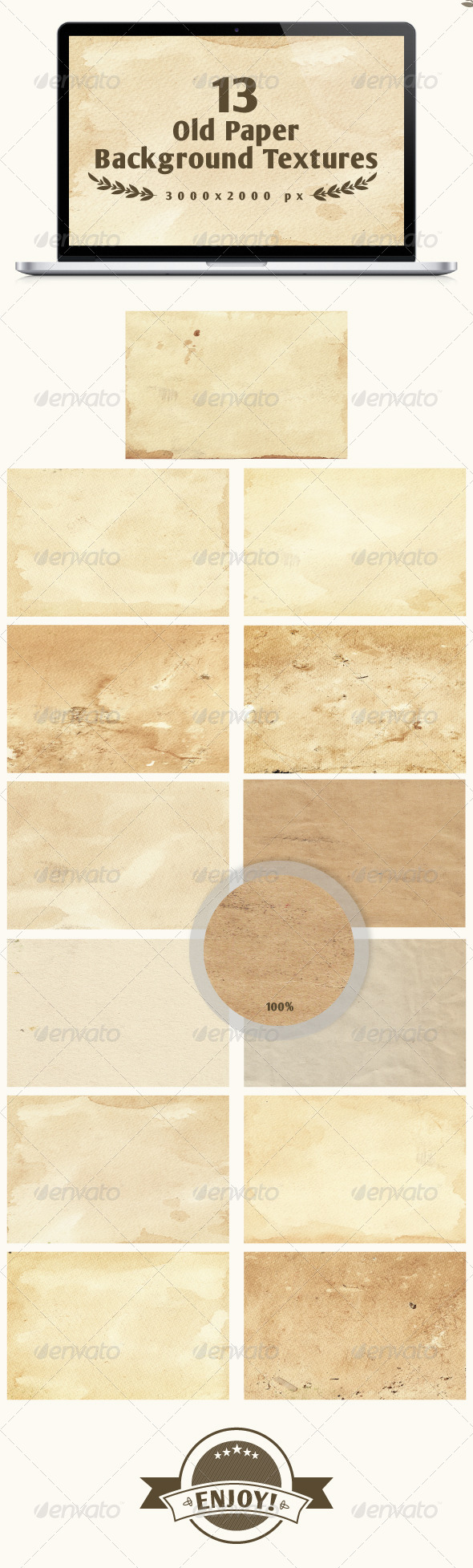 Set of 13 old paper backgrounds - Paper Textures