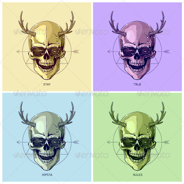 Hipster Skulls Pop Art - Vectors