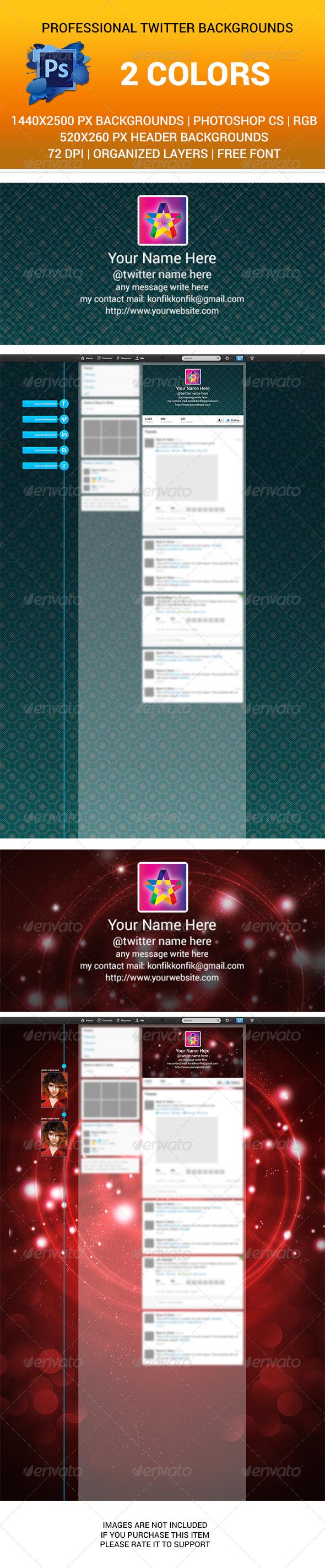 Twitter Backgrounds and Title bg PSD New Design - Twitter Social Media