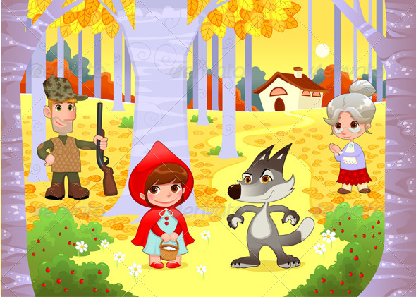 Little Red Hiding Hood Scene. - Characters Vectors