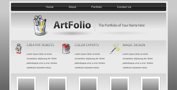 Art Folio Portfolio Template By Scottwills ThemeForest - Artist portfolio website templates