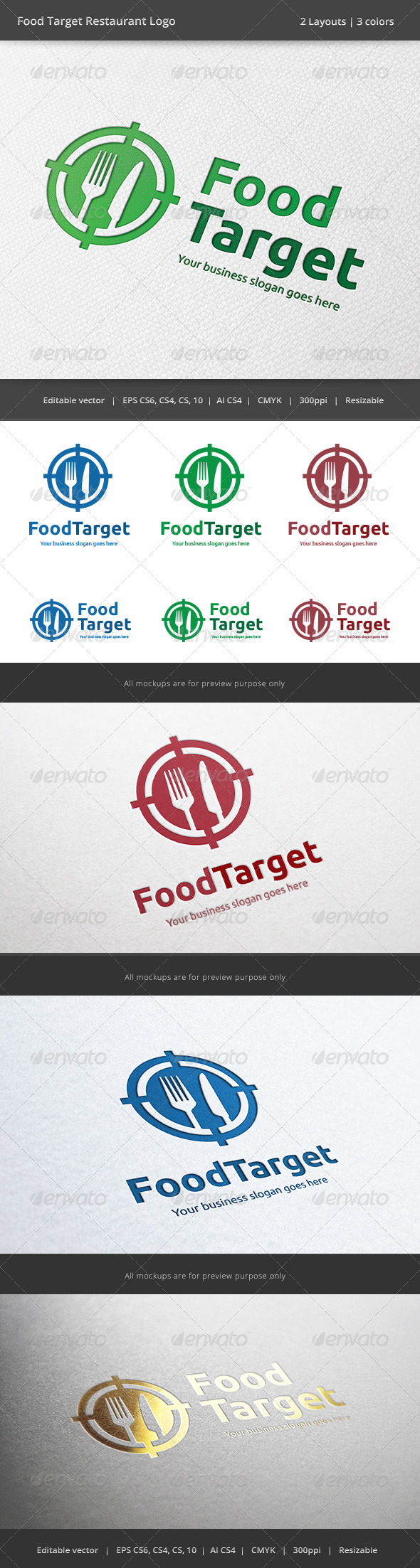 Food Target Restaurant Logo