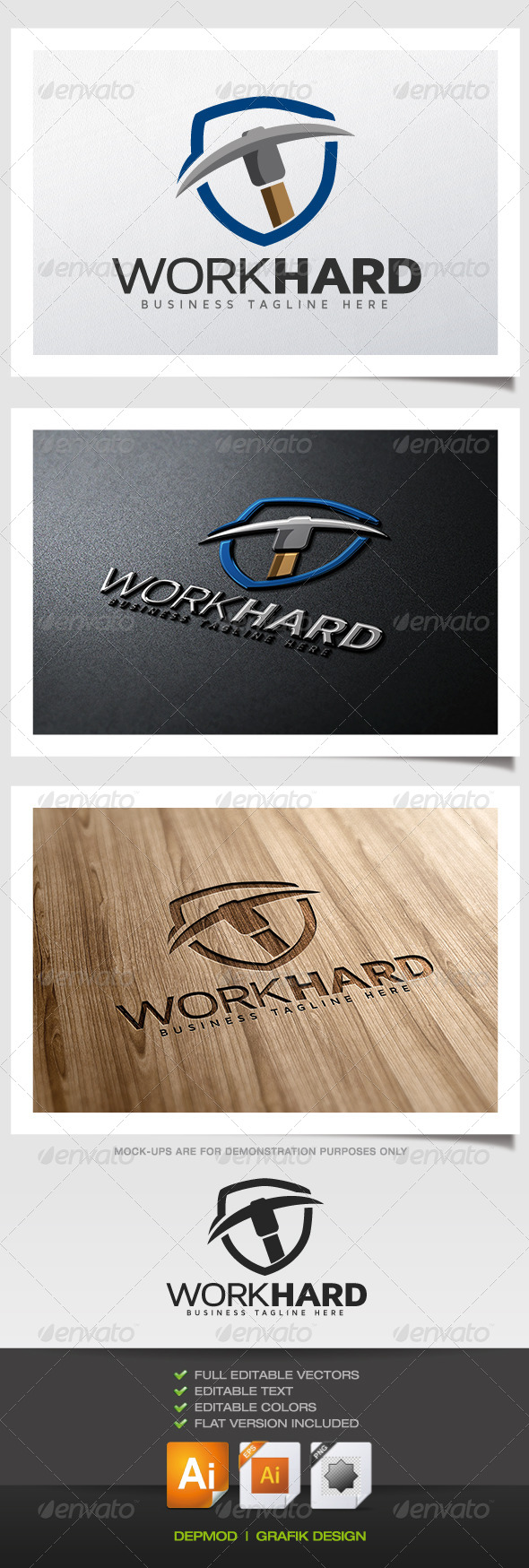Work Hard Logo - Symbols Logo Templates