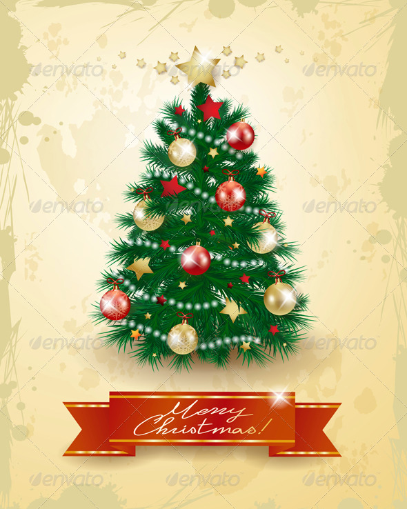 Christmas Tree on Vintage Background - Christmas Seasons/Holidays