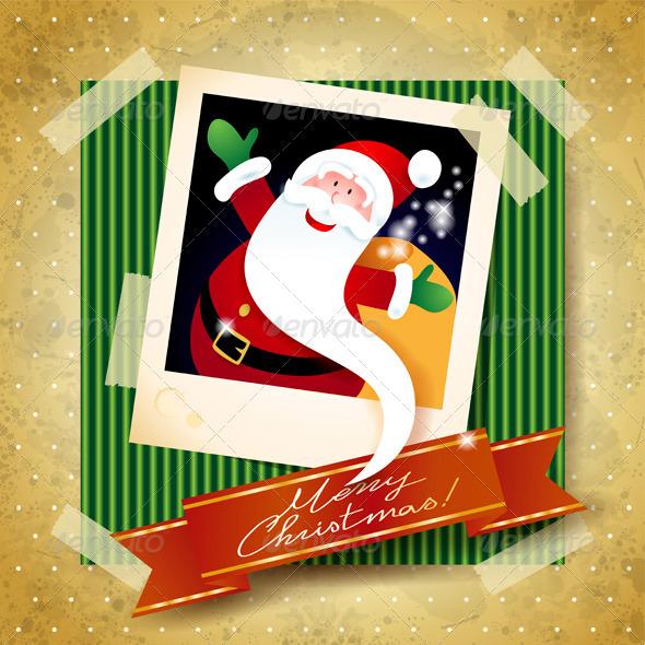 Christmas Background with Funny Santa - Christmas Seasons/Holidays