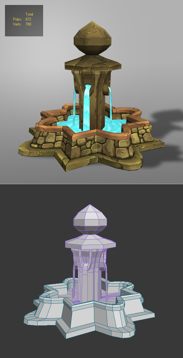 fountain low poly_1 - 3DOcean Item for Sale