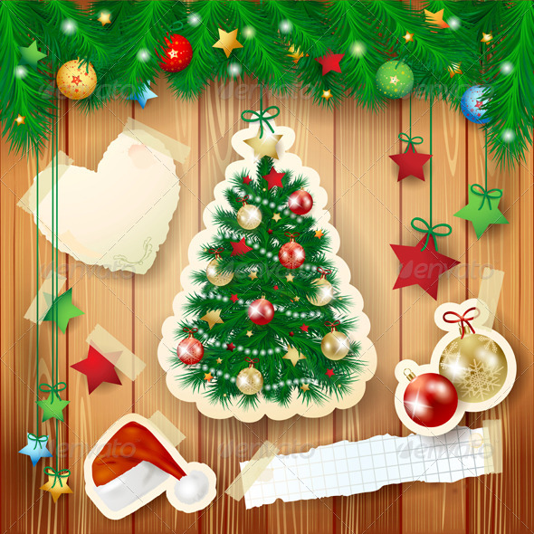 Christmas Illustration with Paper Tree  - Christmas Seasons/Holidays