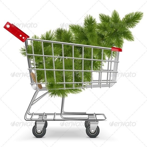Vector Cart with Christmas Tree - Christmas Seasons/Holidays