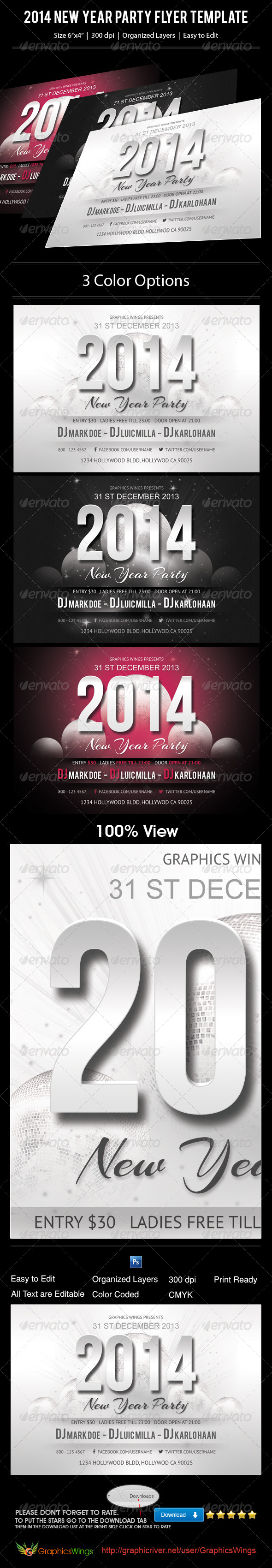2014 New Year Party Flyer Template - Events Flyers