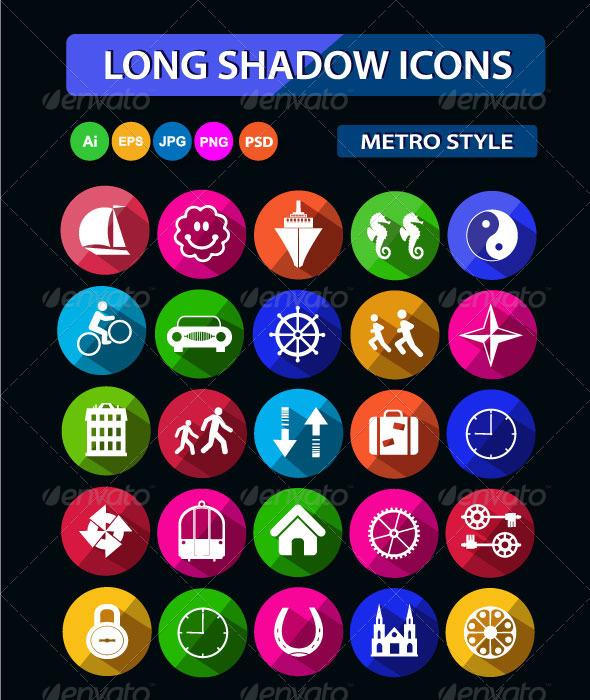 Long Shadow Icons - Web Icons