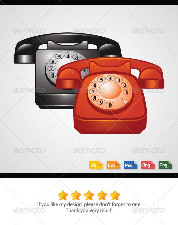 Classic Telephones - Objects Vectors