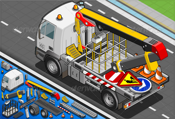 Isometric Platform Lift Truck in Rear View - Objects Vectors