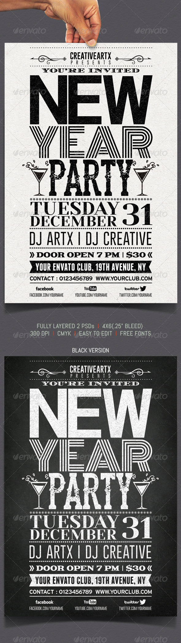 New Year Party Typography Flyer - Events Flyers