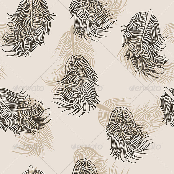 Beige Feathers Pattern - Patterns Decorative