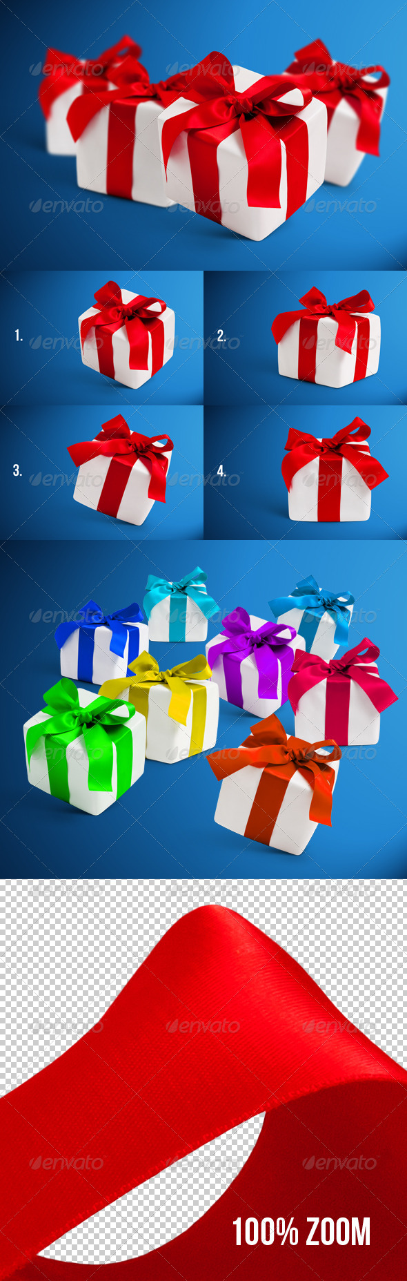 4 Gift Boxes with Shadows Photorealistic - Miscellaneous Isolated Objects