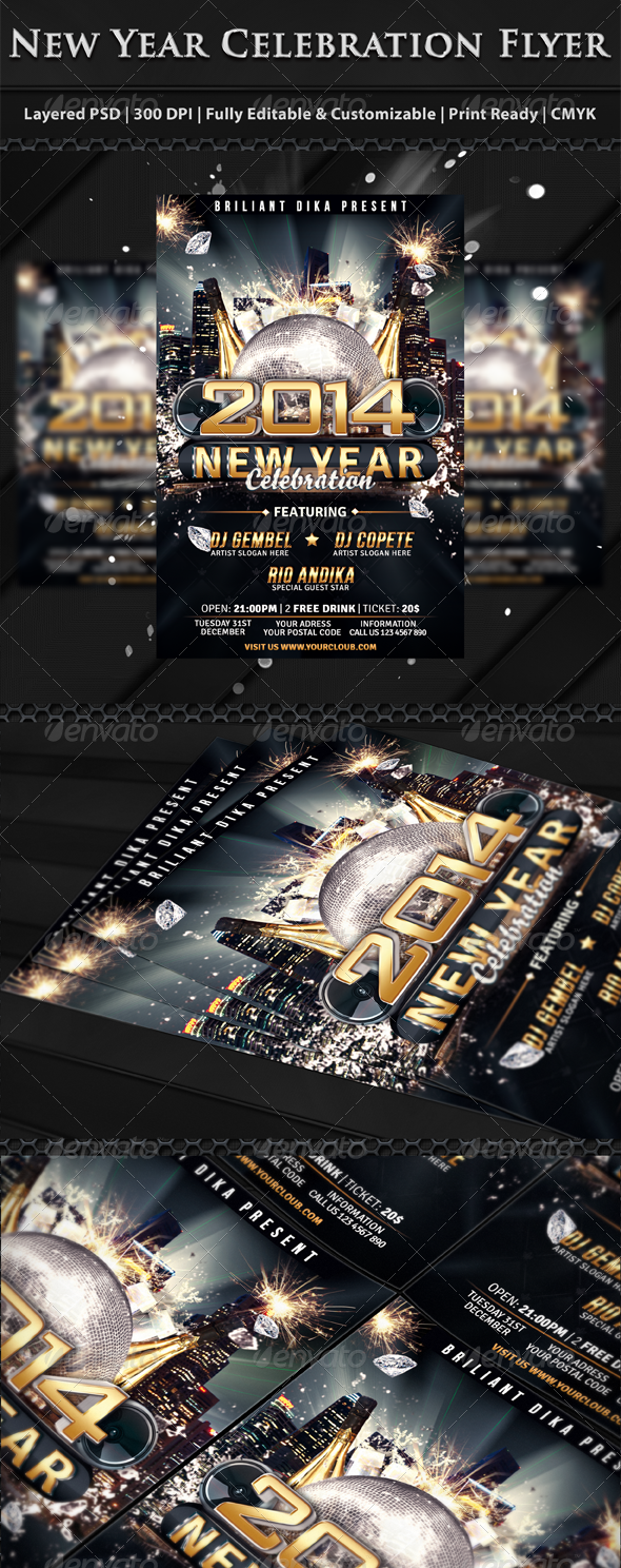 New Year Party Celebration Flyer Template - Clubs & Parties Events
