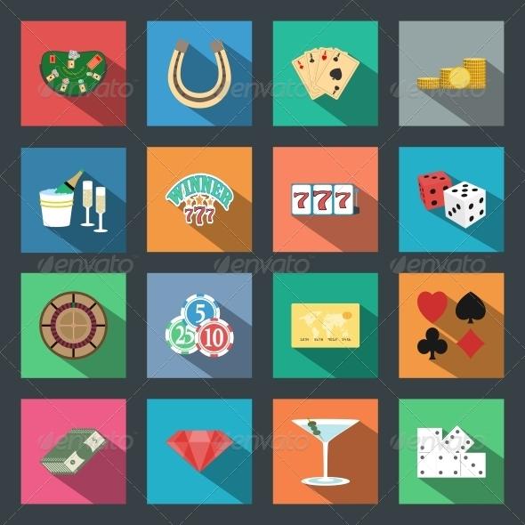 Casino Flat Icons Set - Web Technology
